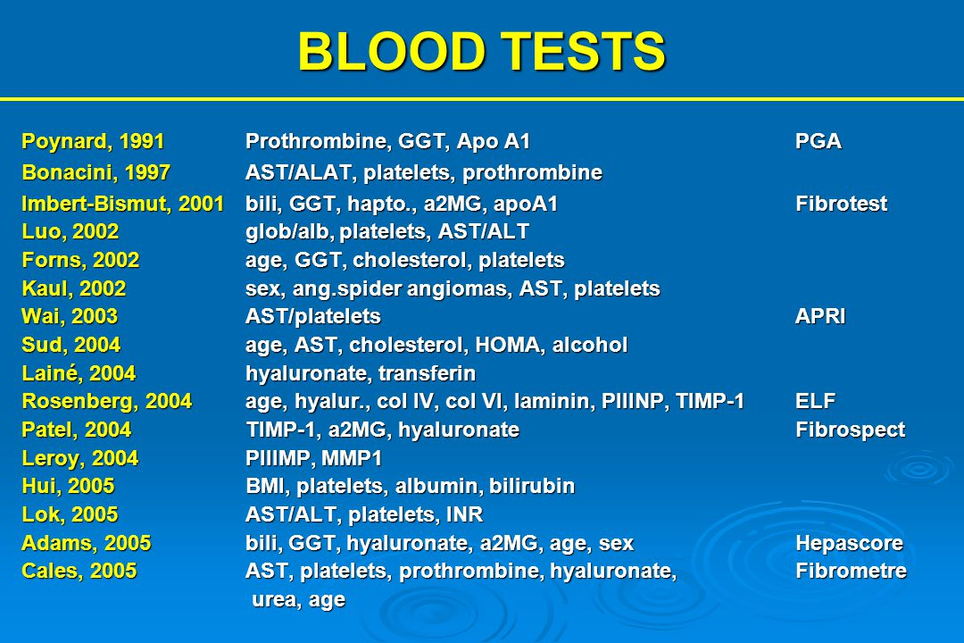 BLOOD TESTS Poynard, 1991 Prothrombine, GGT, Apo A1 PGA