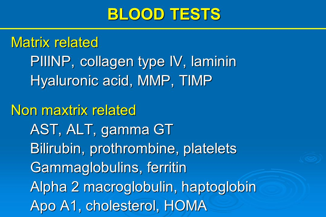 BLOOD TESTS Matrix related PIIINP, collagen type IV, laminin