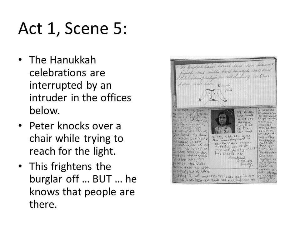 Act 1, Scene 5: The Hanukkah celebrations are interrupted by an intruder in the offices below.