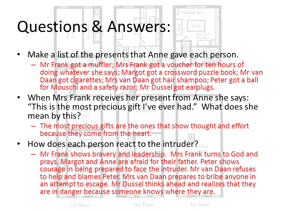 Questions & Answers: Make a list of the presents that Anne gave each person.