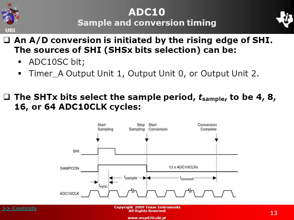 ADC10 Sample and conversion timing