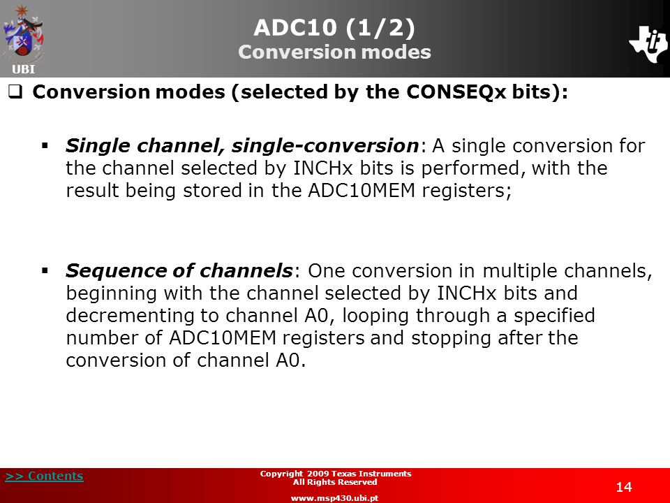 ADC10 (1/2) Conversion modes