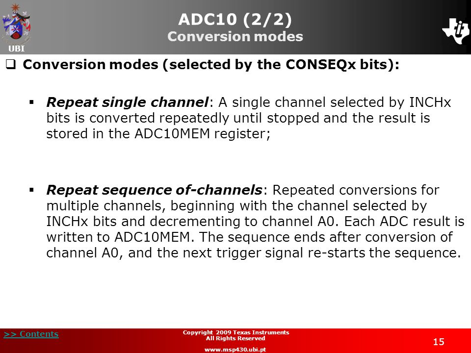 ADC10 (2/2) Conversion modes