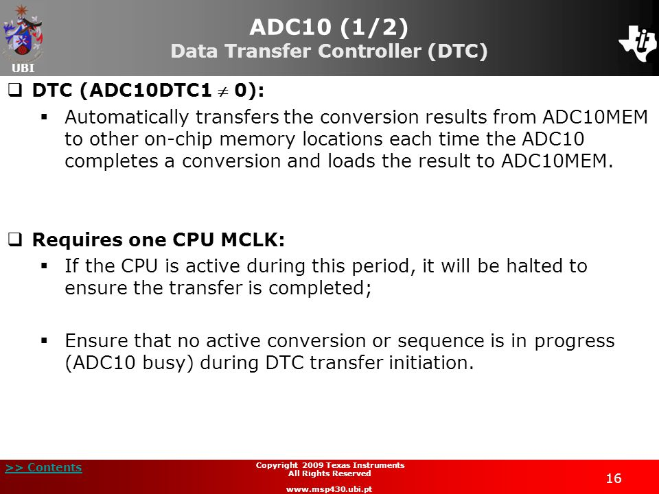 ADC10 (1/2) Data Transfer Controller (DTC)