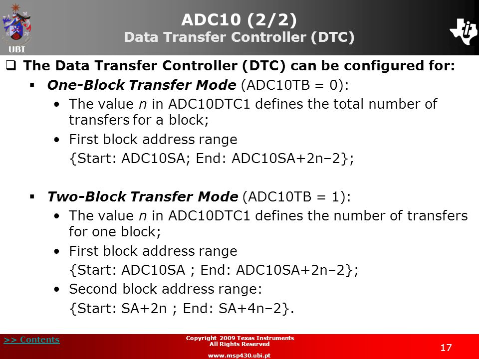 ADC10 (2/2) Data Transfer Controller (DTC)