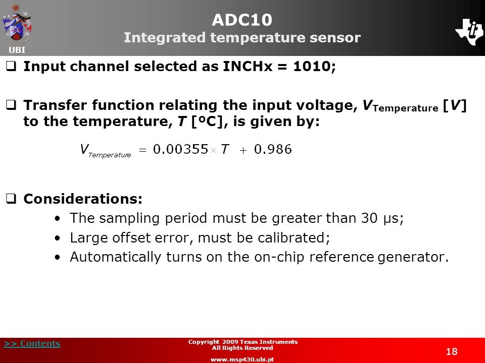 ADC10 Integrated temperature sensor