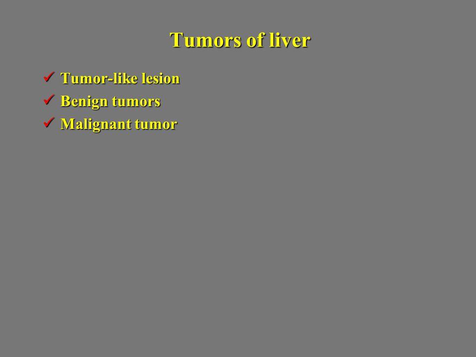 Tumors of liver Tumor-like lesion Benign tumors Malignant tumor