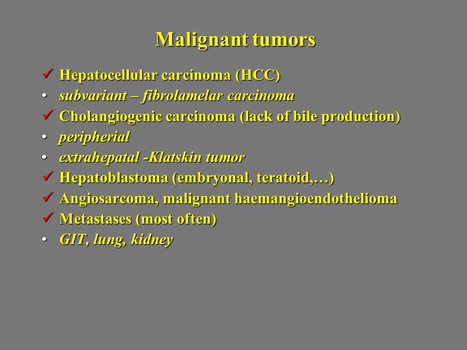 Malignant tumors Hepatocellular carcinoma (HCC)