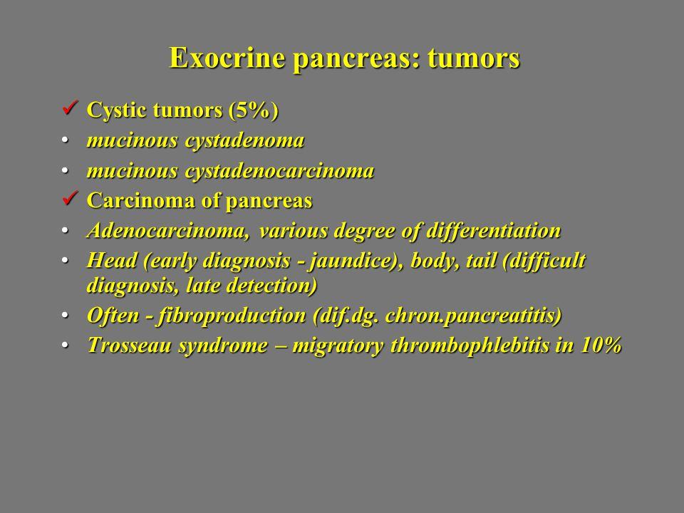 Exocrine pancreas: tumors
