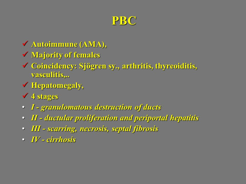 PBC Autoimmune (AMA), Majority of females