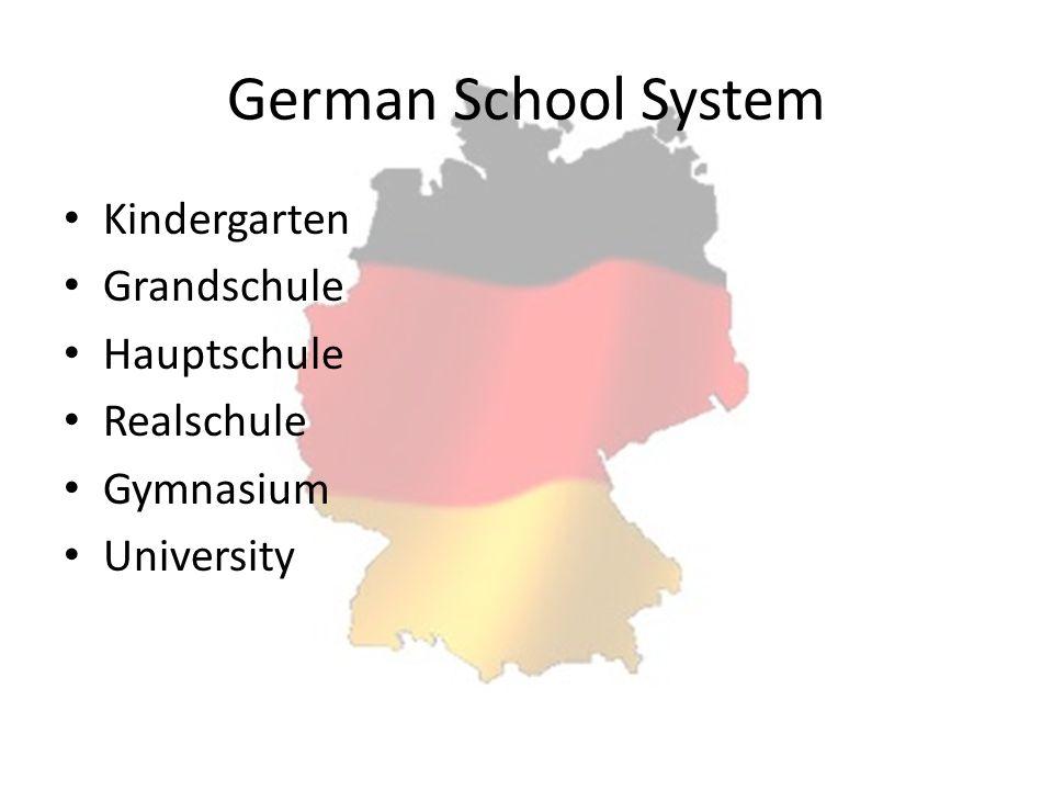 German School System Kindergarten Grandschule Hauptschule Realschule