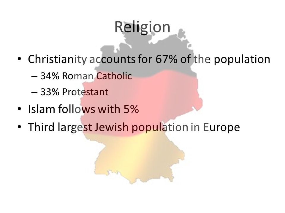 Religion Christianity accounts for 67% of the population