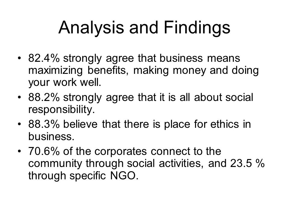 Analysis and Findings 82.4% strongly agree that business means maximizing benefits, making money and doing your work well.