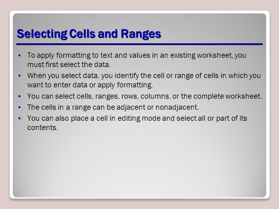 Selecting Cells and Ranges