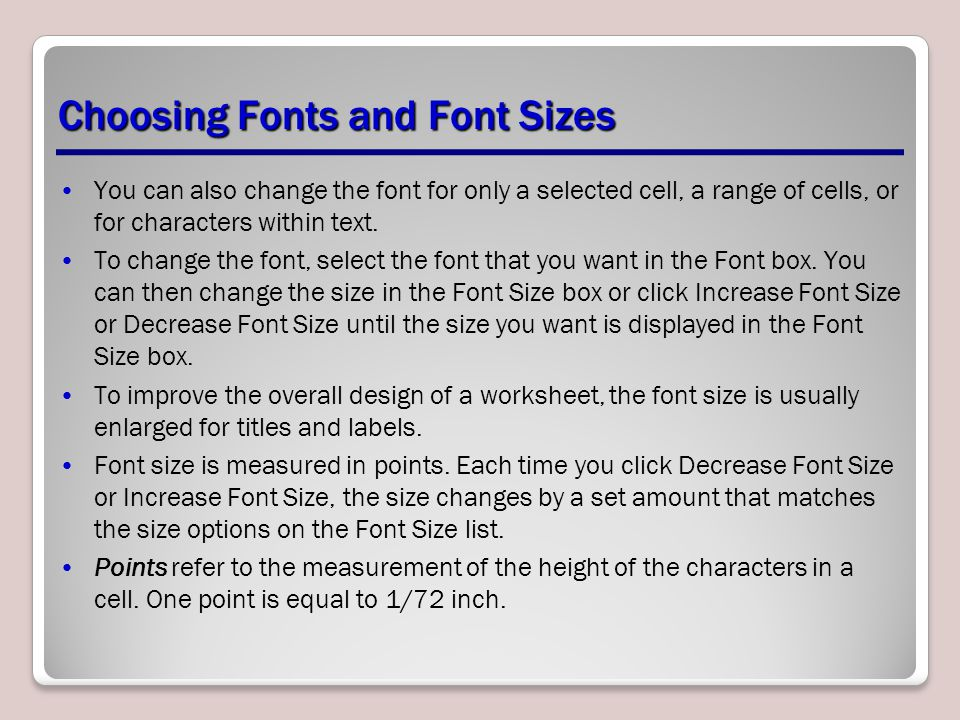 Choosing Fonts and Font Sizes