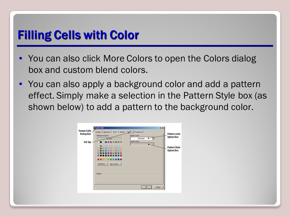Filling Cells with Color