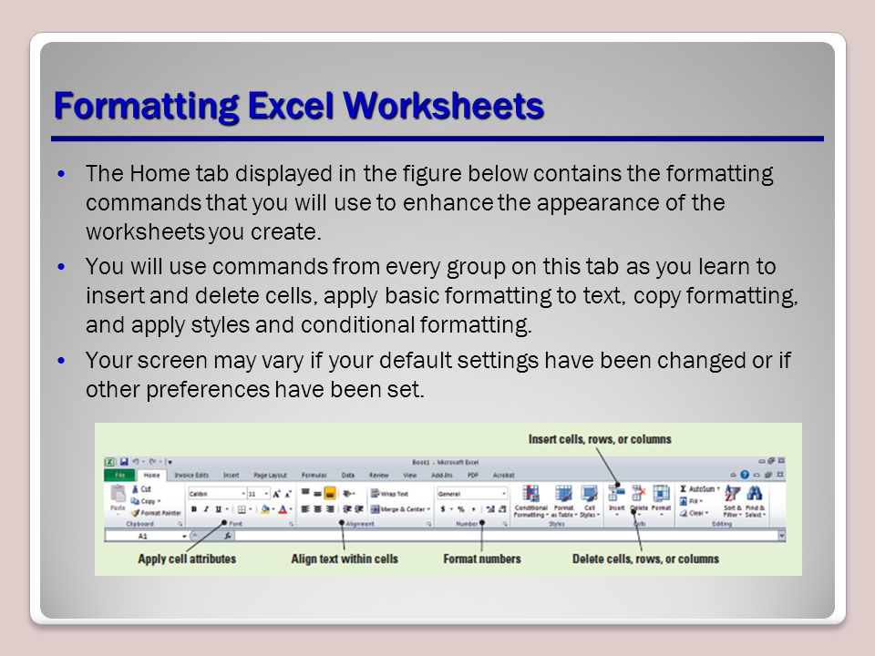Formatting Excel Worksheets