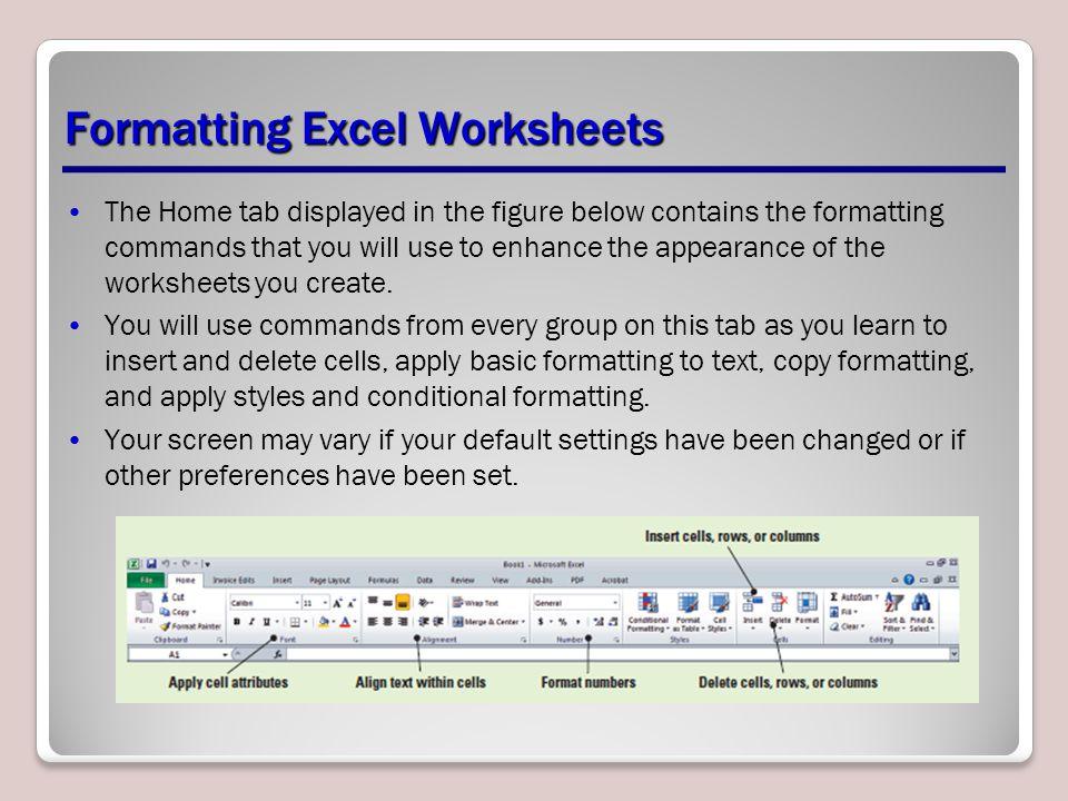 Formatting Excel Worksheets