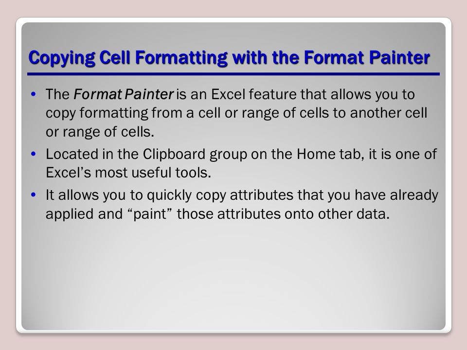 Copying Cell Formatting with the Format Painter
