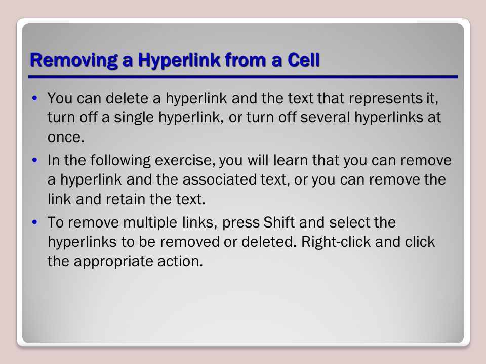 Removing a Hyperlink from a Cell