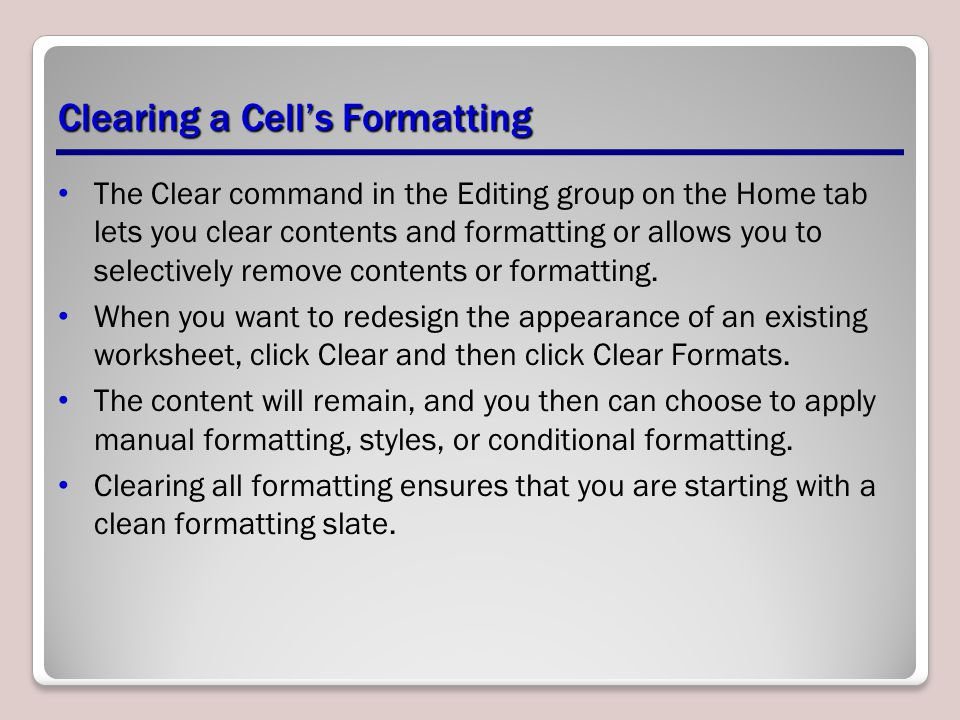 Clearing a Cell's Formatting