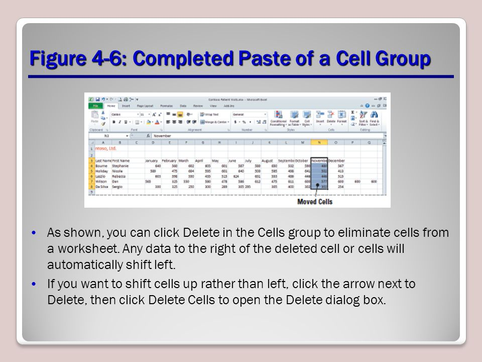 Figure 4-6: Completed Paste of a Cell Group