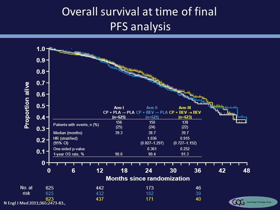 Overall survival at time of final PFS analysis