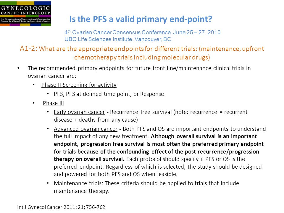 Is the PFS a valid primary end-point
