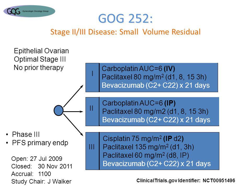 GOG 252: Stage II/III Disease: Small Volume Residual