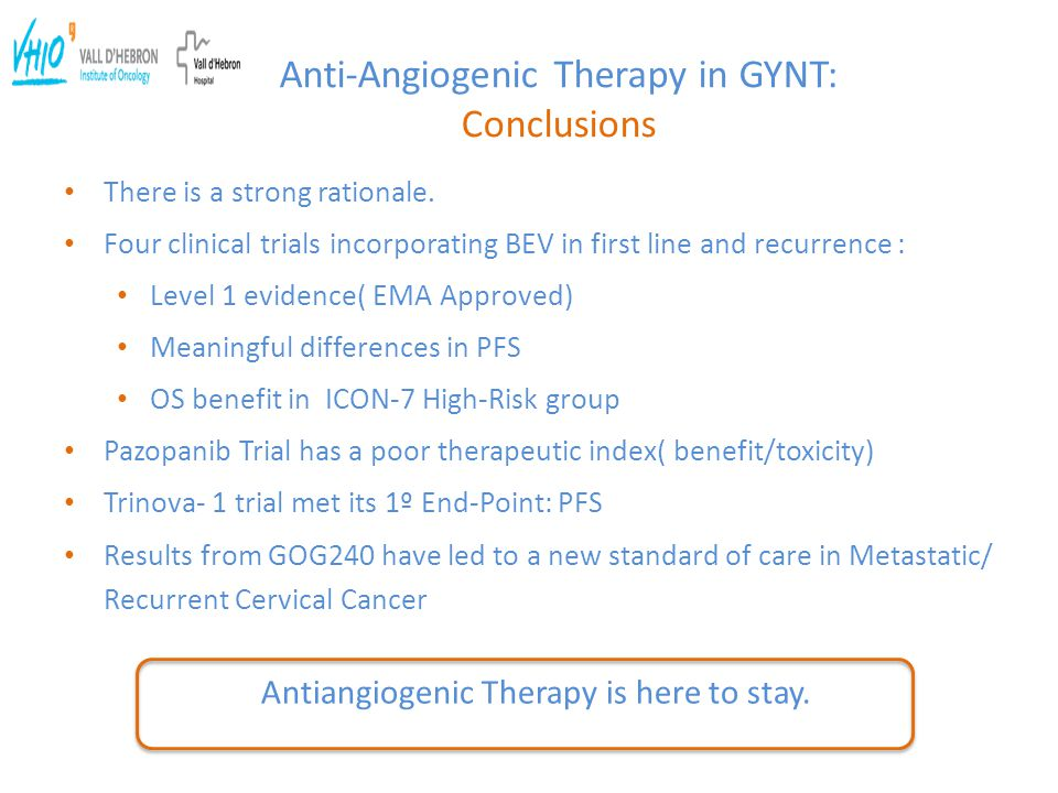 Anti-Angiogenic Therapy in GYNT: Conclusions