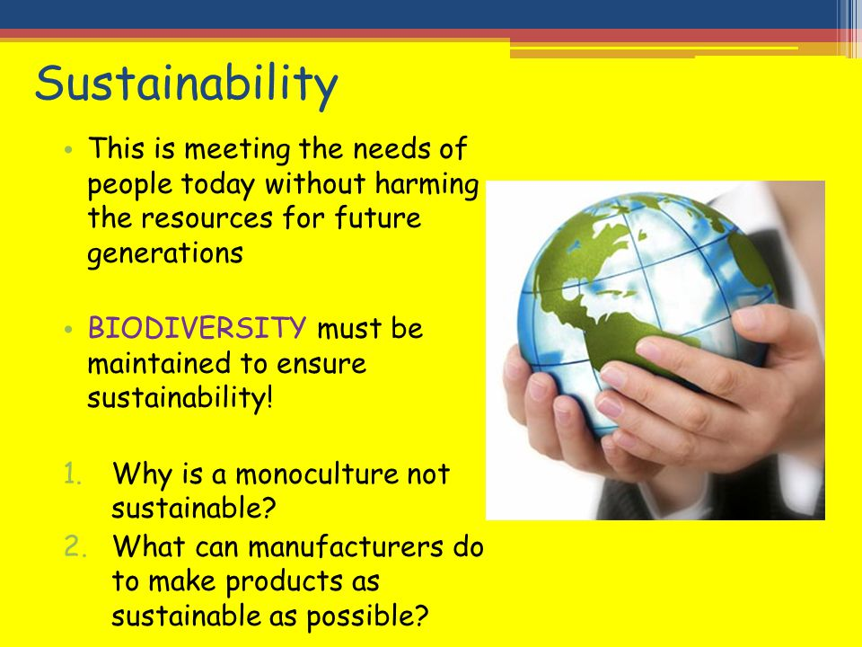 Sustainability This is meeting the needs of people today without harming the resources for future generations.