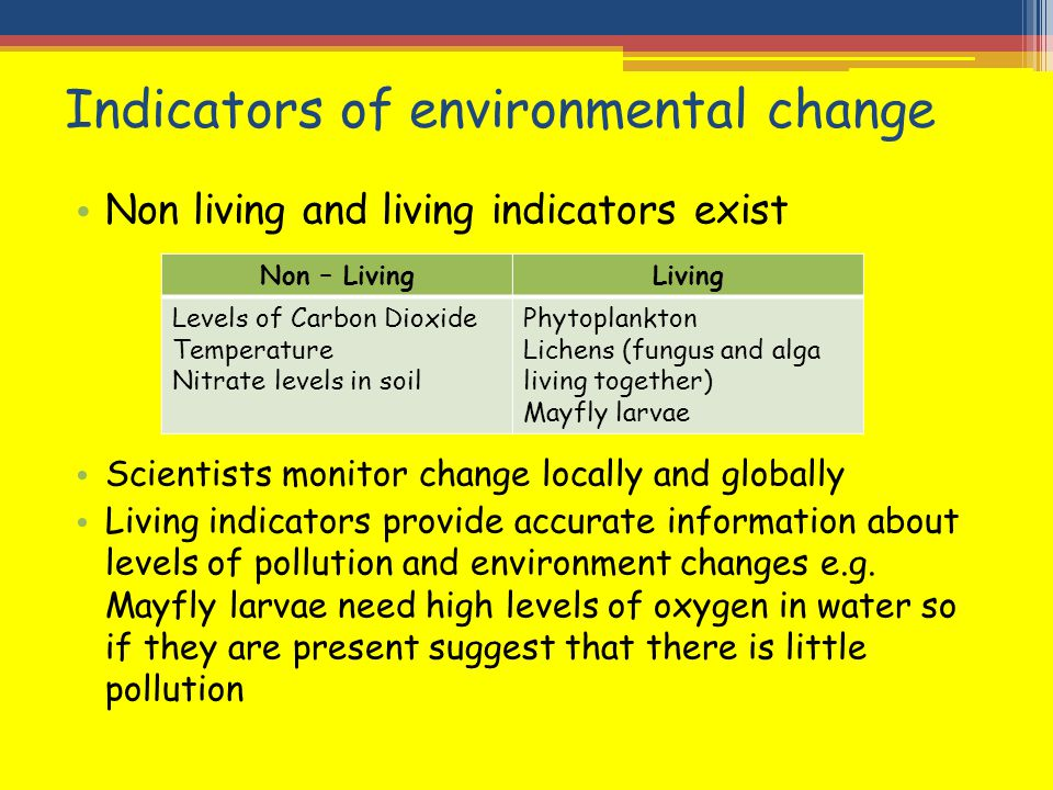 Indicators of environmental change