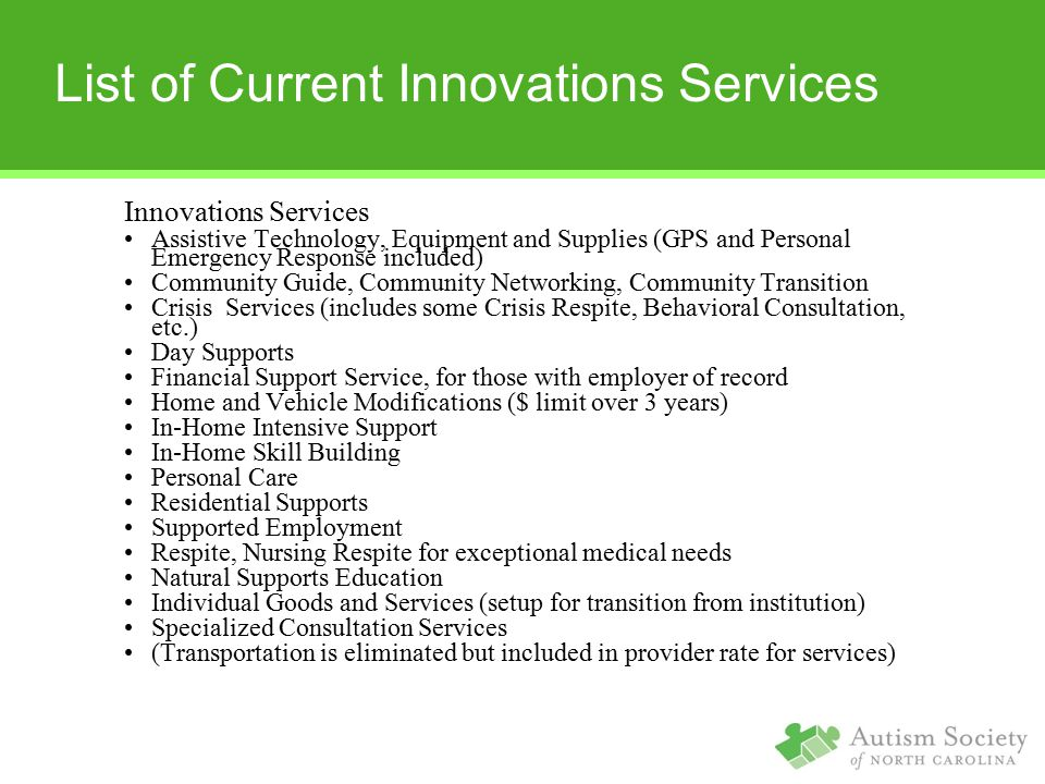 List of Current Innovations Services