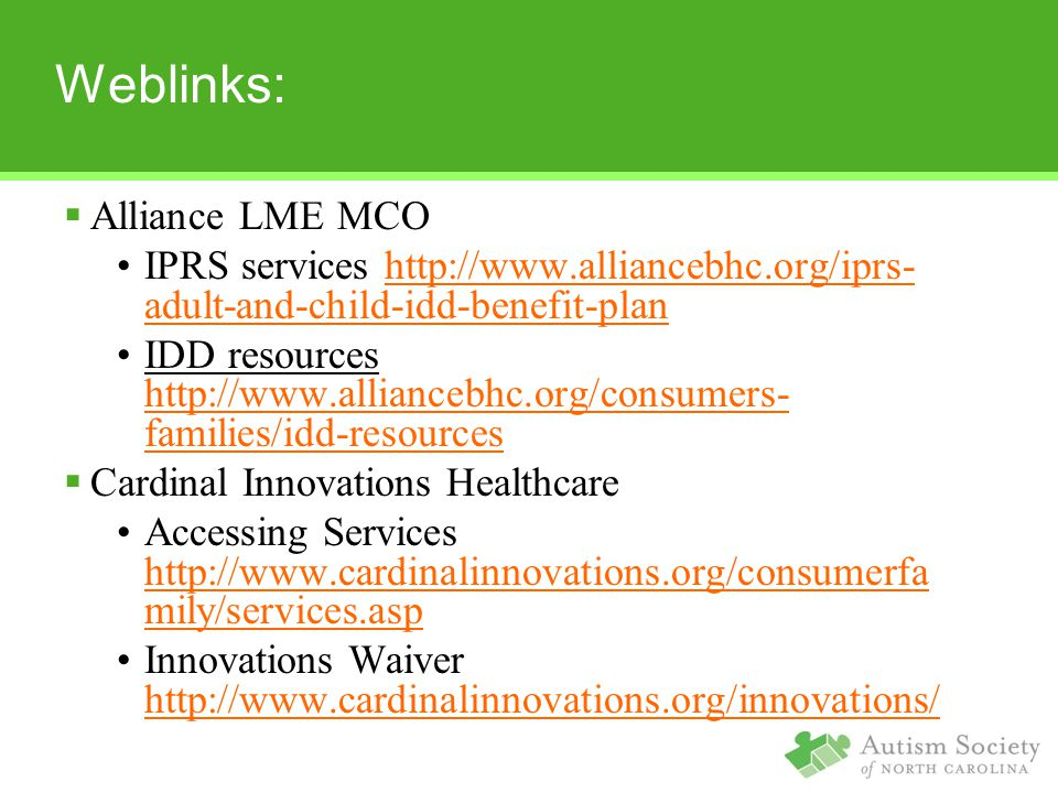 Weblinks: Alliance LME MCO