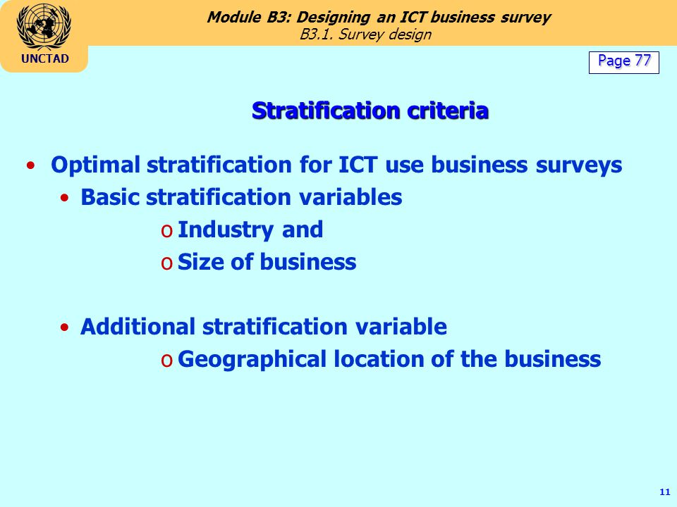 Stratification criteria