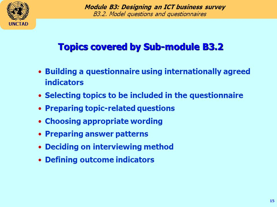 Topics covered by Sub-module B3.2