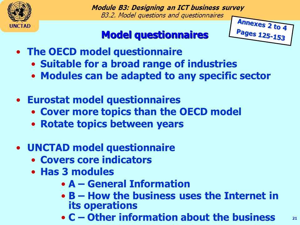 B3.2. Model questions and questionnaires