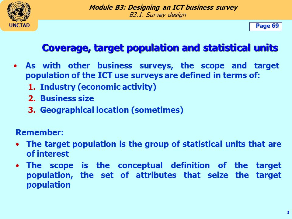 Coverage, target population and statistical units