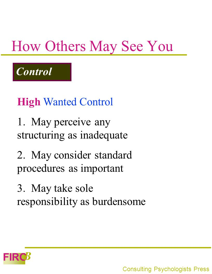 How Others May See You Control High Wanted Control