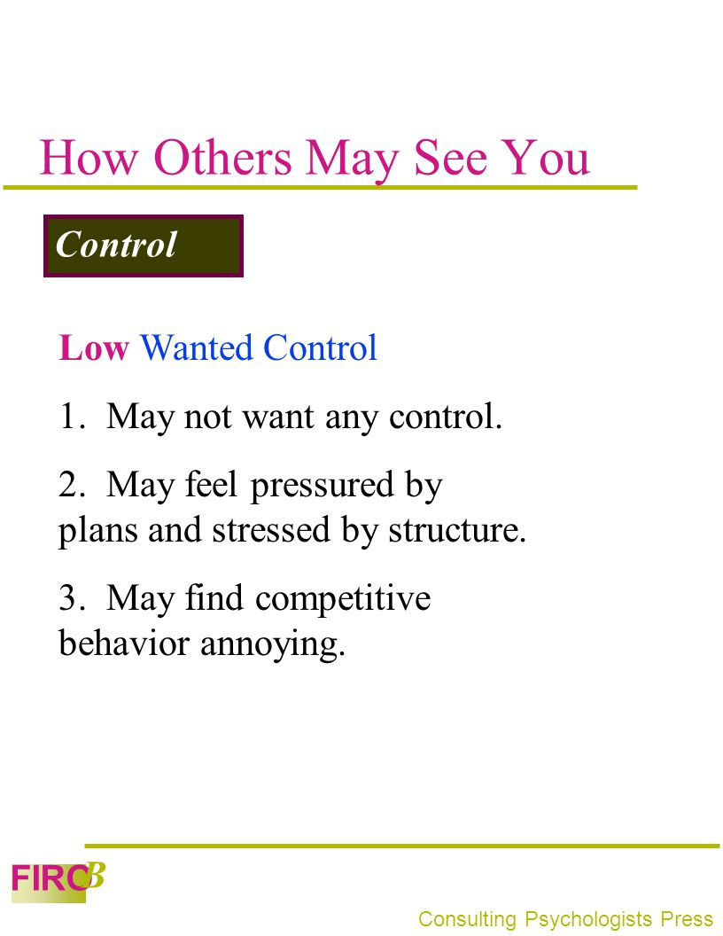How Others May See You Control Low Wanted Control