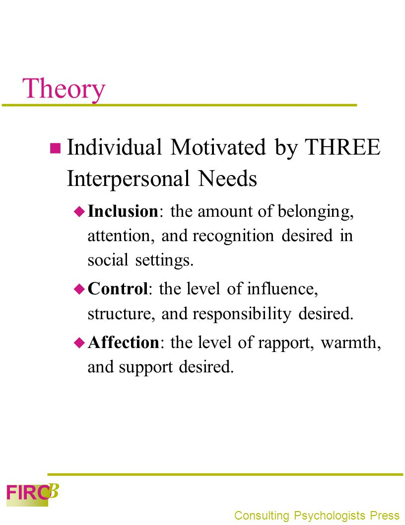 Theory Individual Motivated by THREE Interpersonal Needs