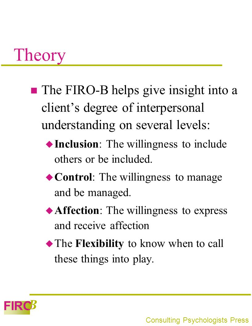 Theory The FIRO-B helps give insight into a client's degree of interpersonal understanding on several levels: