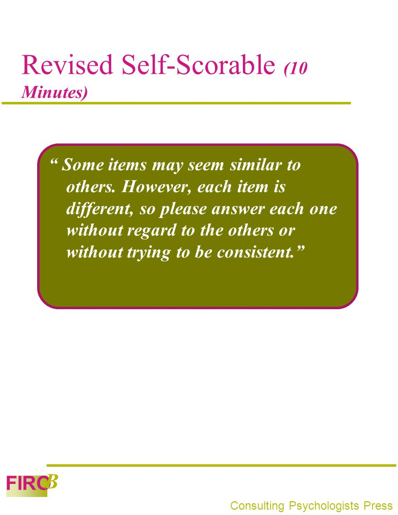 Revised Self-Scorable (10 Minutes)