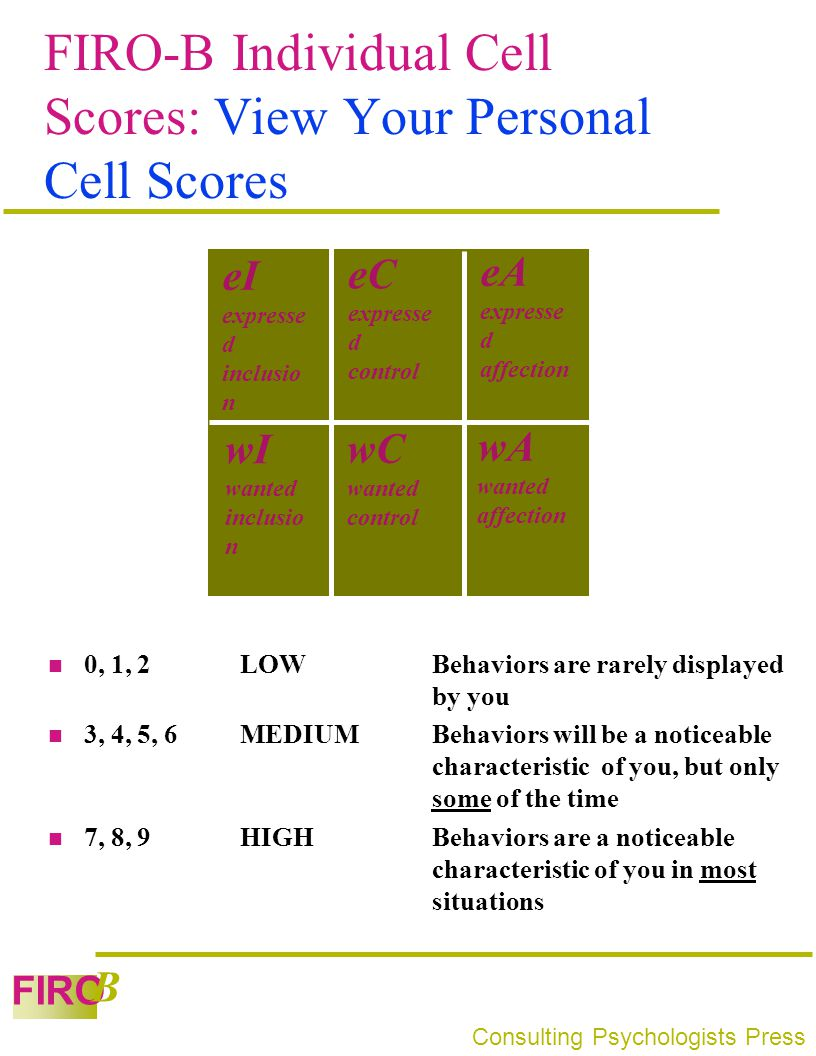 FIRO-B Individual Cell Scores: View Your Personal Cell Scores