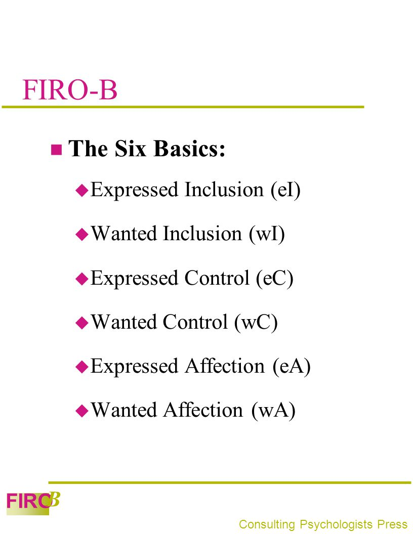 FIRO-B The Six Basics: Expressed Inclusion (eI) Wanted Inclusion (wI)