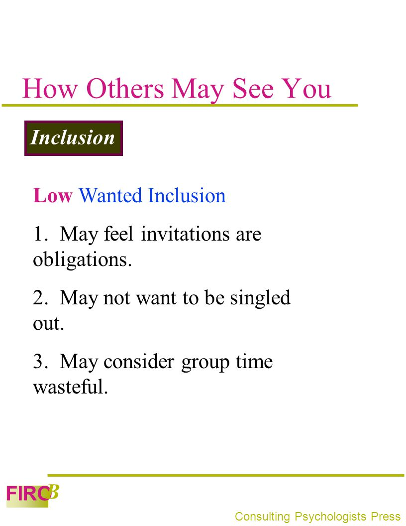 How Others May See You Inclusion Low Wanted Inclusion