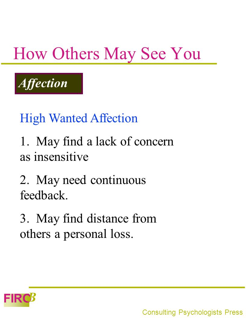 How Others May See You Affection High Wanted Affection