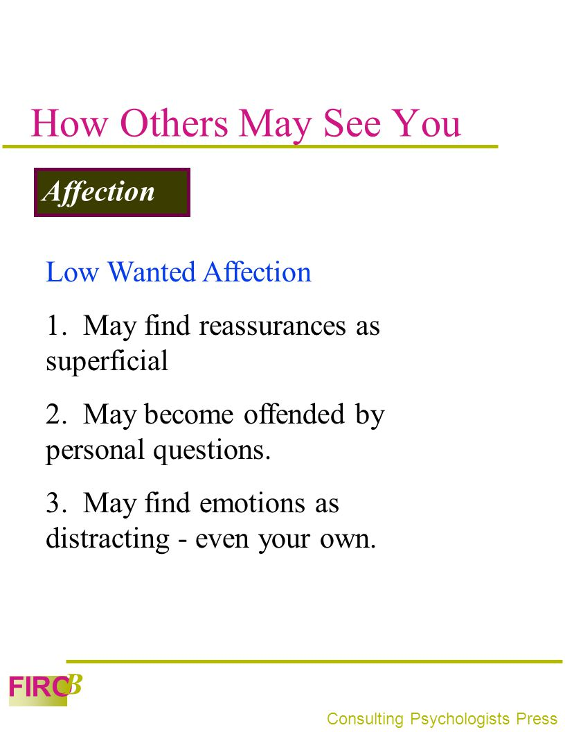 How Others May See You Affection Low Wanted Affection
