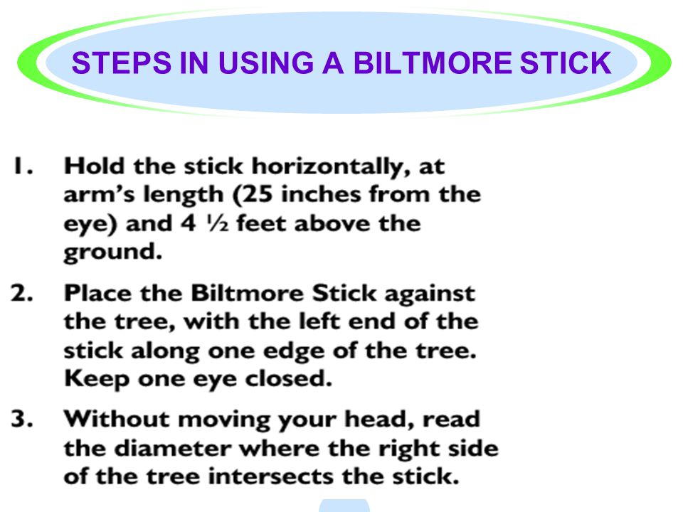 STEPS IN USING A BILTMORE STICK