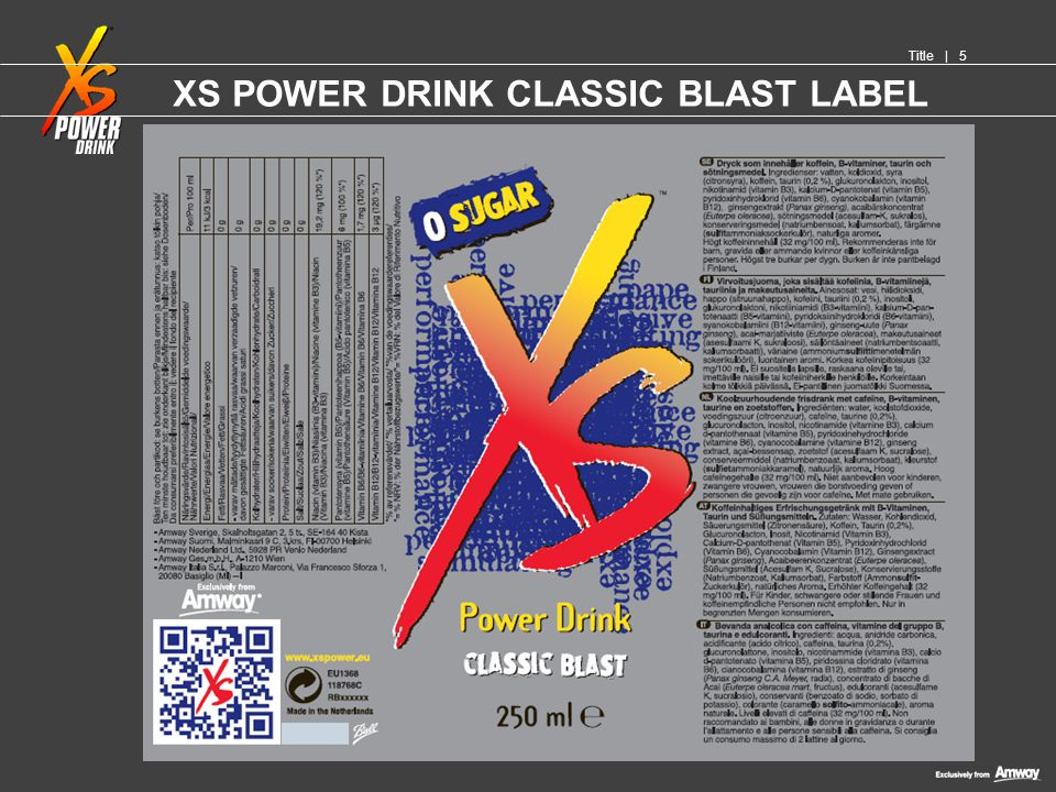 XS POWER DRINK CLASSIC BLAST LABEL